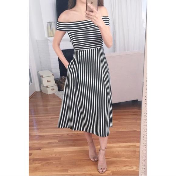 2d574ff87c882 Banana Republic Dresses   Skirts - Banana Republic Striped Off Shoulder  Midi Dress